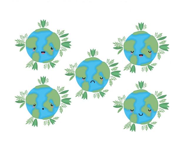 Welten cartoons mit blättern design gesetzt