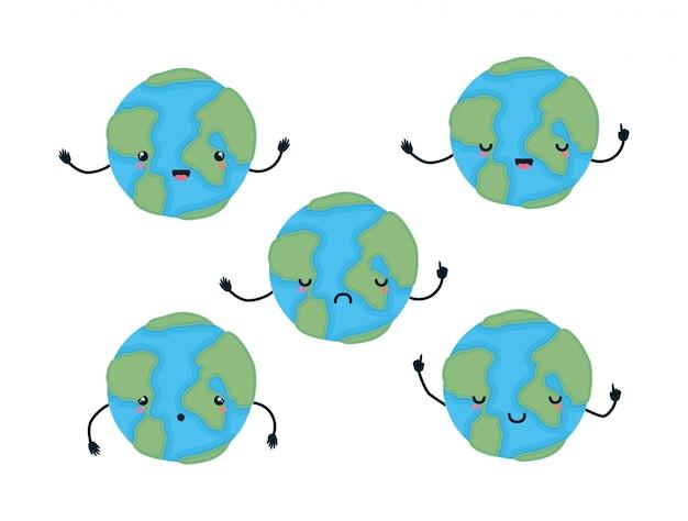 Welten cartoons mit händen design gesetzt