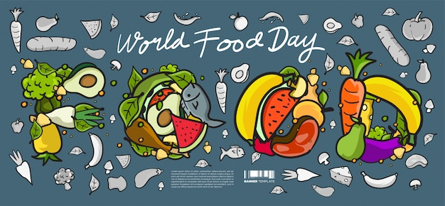 Welternährungstag banner. verschiedene lebensmittel, obst und gemüse