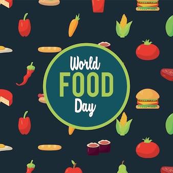 Welternährungstag-beschriftungsplakat mit lebensmittelmusterillustrationsdesign