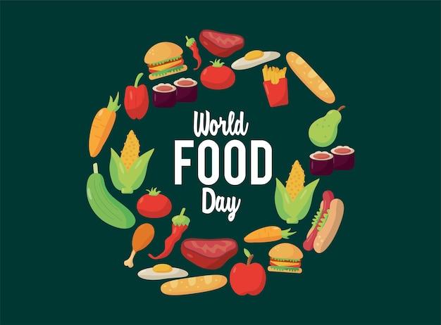 Welternährungstag-beschriftungsplakat mit lebensmitteln im kreisförmigen rahmenillustrationsdesign