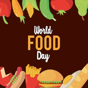 Welternährungstag-beschriftungsplakat mit lebensmittelrahmenillustrationsdesign