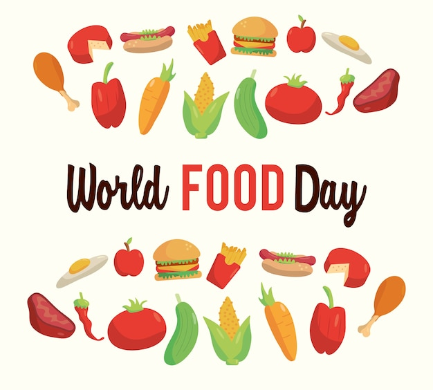 Welternährungstag-beschriftungsplakat mit nahrhaftem lebensmittelrahmenillustrationsdesign