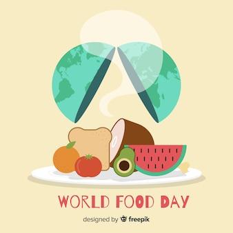 Welternährungstag mit erde im flachen design