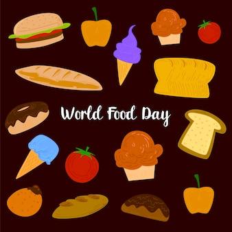 Welternährungstag mit farbenfrohen obst, fleisch und gemüse elementen
