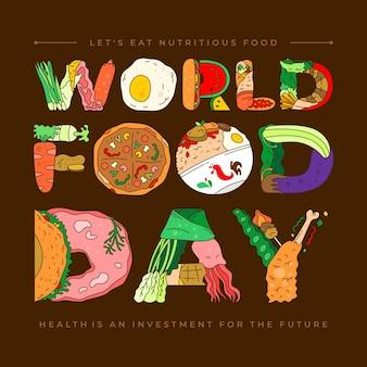 Welternährungstag-vektorhintergrund für poster, banner, grußkarten usw. lassen sie uns nahrhaftes essen essen