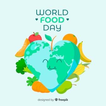 Welternährungstagkonzept mit flachem designhintergrund