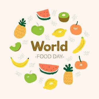 Welternährungstagkonzept mit hand gezeichnetem hintergrund