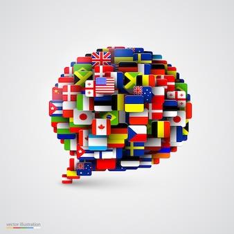 Weltflaggen in form einer sprechblase