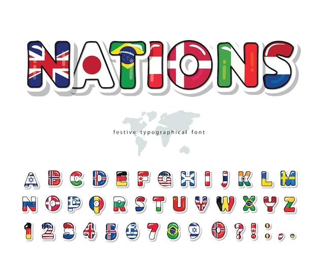 Weltflaggen-karikaturschrift. helles alphabet für tourismusdesign.