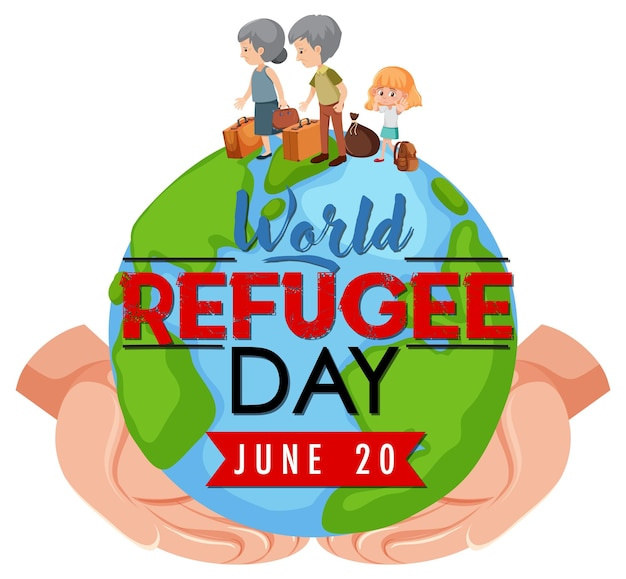 Weltflüchtlingstag-banner mit händen, die globus halten