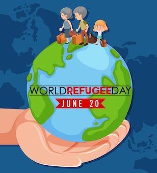 Weltflüchtlingstag-banner mit menschenzeichen auf globuszeichen auf weißem hintergrund