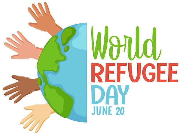 Weltflüchtlingstag-banner mit verschiedenen hautfarben hände hoch
