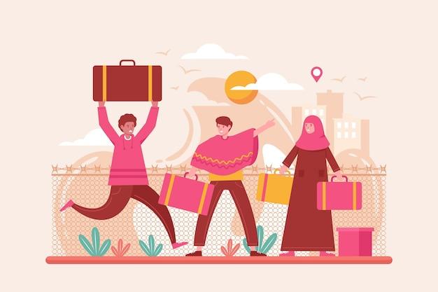 Weltflüchtlingstag event flacher stil