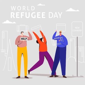 Weltflüchtlingstag illustriertes konzept
