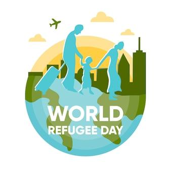 Weltflüchtlingstag in flachem design