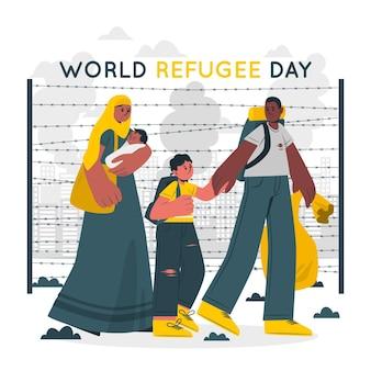 Weltflüchtlingstag konzeptillustration