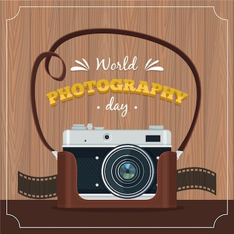Weltfotografietag des flachen designs