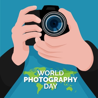 Weltfotografietag im flachen design