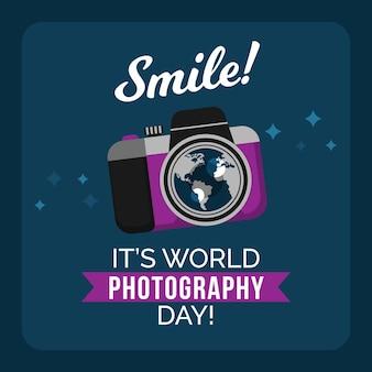 Weltfotografietag mit kamera und nachricht