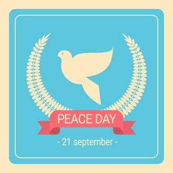 Weltfriedenstag-weißes tauben-vogel-retro plakat