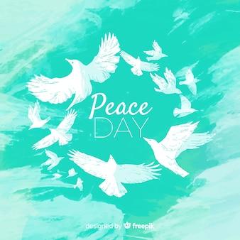 Weltfriedenstageskonzept des aquarells mit weißer taube