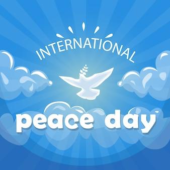 Weltfriedenstags-plakat-weiß-tauben-vogel-fliege im himmel