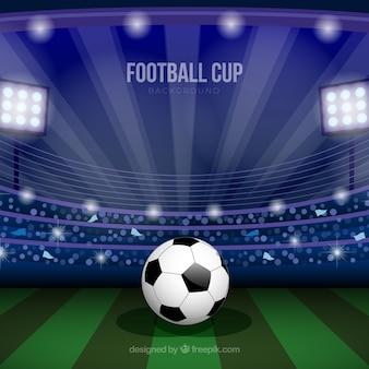Weltfußball-cup-hintergrund mit feld
