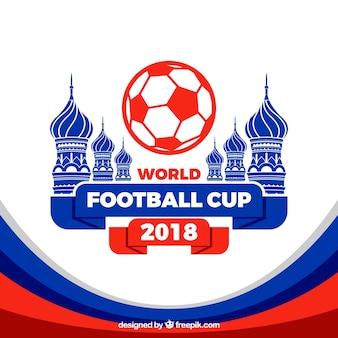 Weltfußballcuphintergrund mit Architektur in der flachen Art