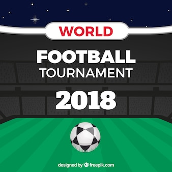 Weltfußballcuphintergrund mit feld in der flachen art