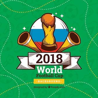 Weltfußballcuphintergrund mit gezeichnetem Stil der Trophäe in der Hand