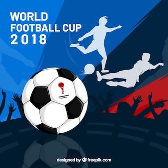 Weltfußballcuphintergrund mit spielern
