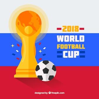 Weltfußballcuphintergrund mit trophäe in der flachen art