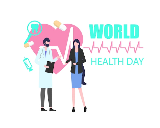 Weltgesundheits-tagesfrauen-patient mit mann-doktor vector illustration