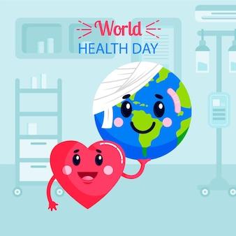 Weltgesundheitstag des flachen entwurfs