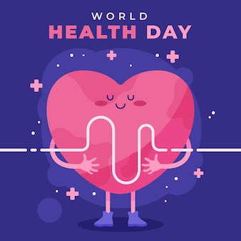 Weltgesundheitstag illustration mit herz Kostenlosen Vektoren