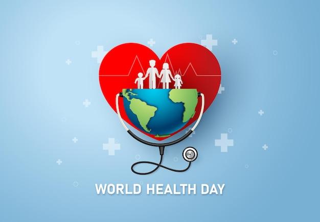 Weltgesundheitstag konzept, papierkunst und digitaler handwerksstil.