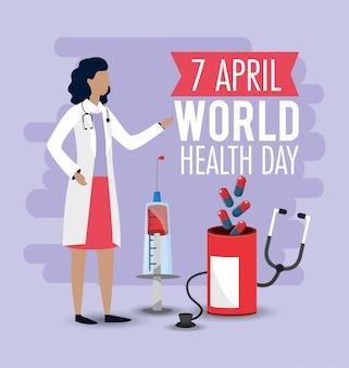 Weltgesundheitstag mit frauendoktor und pillen