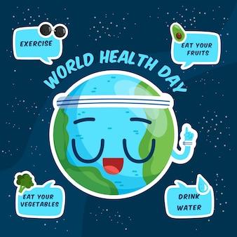 Weltgesundheitstag mit ratschlägen des planeten