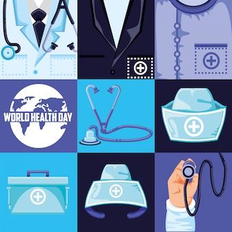 Weltgesundheitstag und set