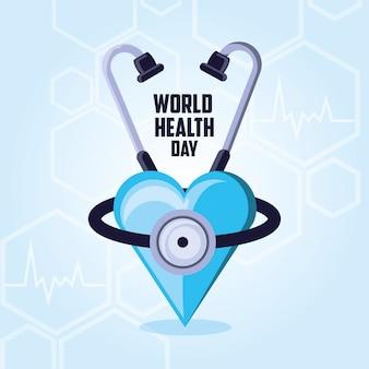 Weltgesundheitstagkarte mit stethoskop