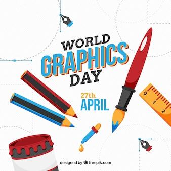Weltgrafik-tageshintergrund mit arbeitswerkzeugen