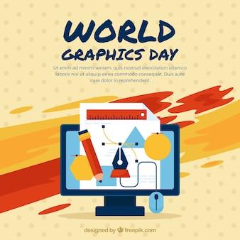 Weltgrafik-tageshintergrund mit computer und werkzeugen
