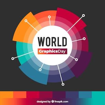 Weltgrafik-tageshintergrund mit farben