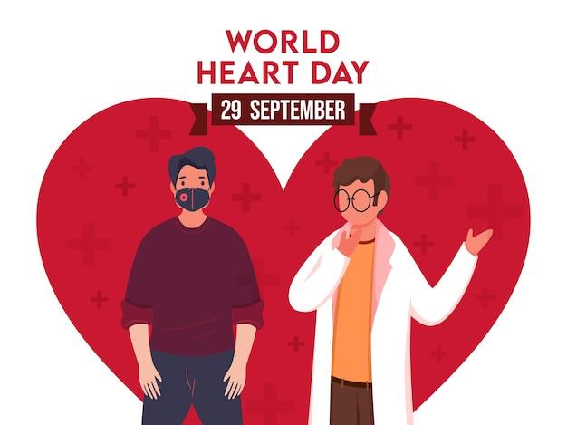 Weltherztag-plakatentwurf mit cartoon-arzt und patientencharakter auf roter herzform und weißem hintergrund.