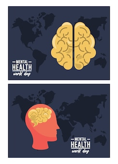 Weltkampagne zum tag der psychischen gesundheit mit gehirnprofil und karten der erde