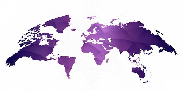Weltkarte auf abstrakt gezeichnetem hintergrund in der gradienten-ultraviolett-farbe. vektor-weltkarte.