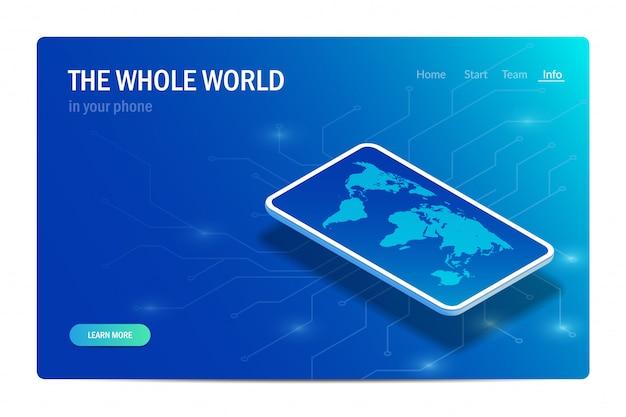 Weltkarte auf dem smartphone-bildschirm