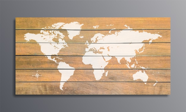 Weltkarte auf einer hintergrundbeschaffenheit von holzbrettern auf grauer wand
