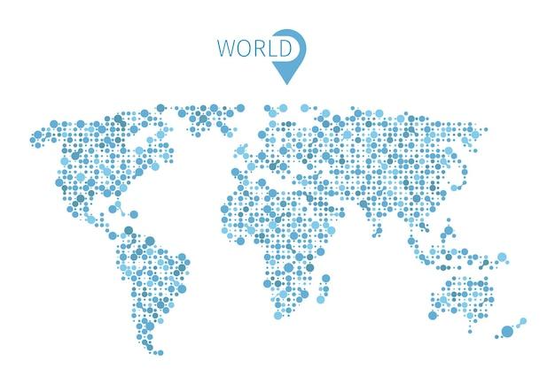 Weltkarte aus kreisen für infografik. illustrationskartenwelt und abstrakte formkarte